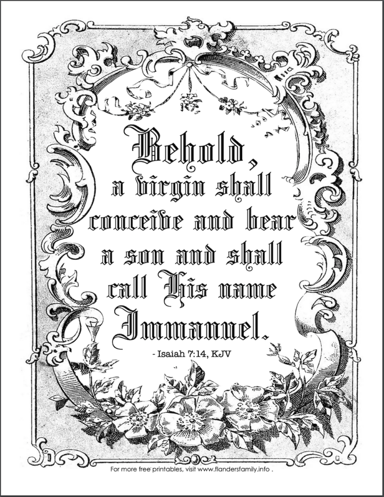 Behold a Virgin Shall Conceive Coloring Page