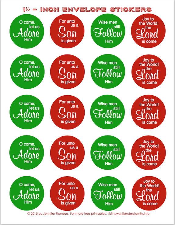 Free Printable Envelope Seals for Christmas