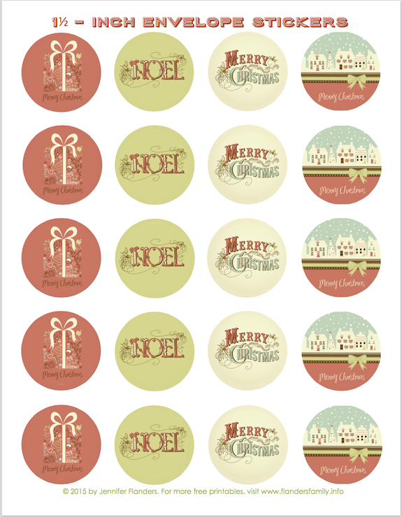 Free printable envelope seals for Christmas!! Lots of patterns to choose from!   www.flandersfamily.info