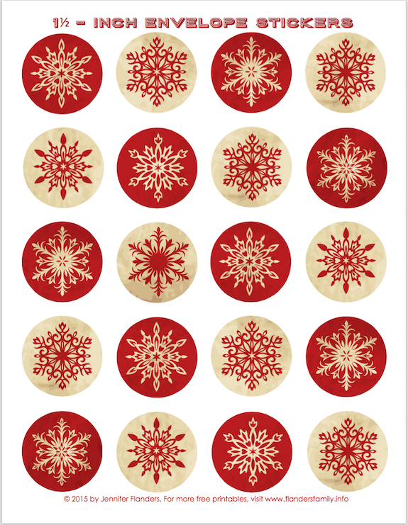Free printable envelope seals for Christmas!! Lots of patterns to choose from! | www.flandersfamily.info