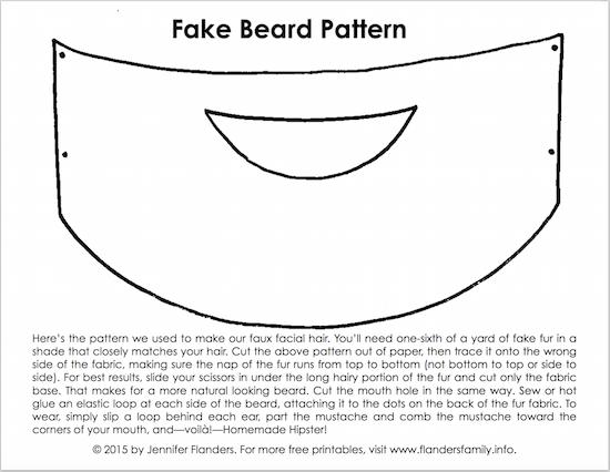 Free printable fake beard pattern