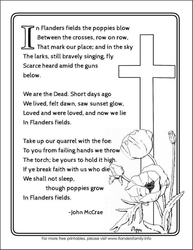 """Free Printable """"In Flanders Fields"""" Poem"""