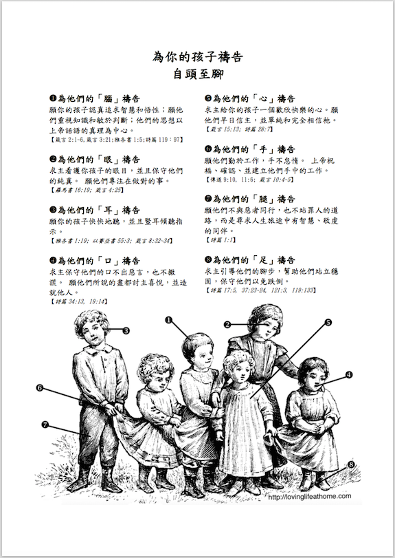 free printable prayer guide (available in English, as well as Chinese)