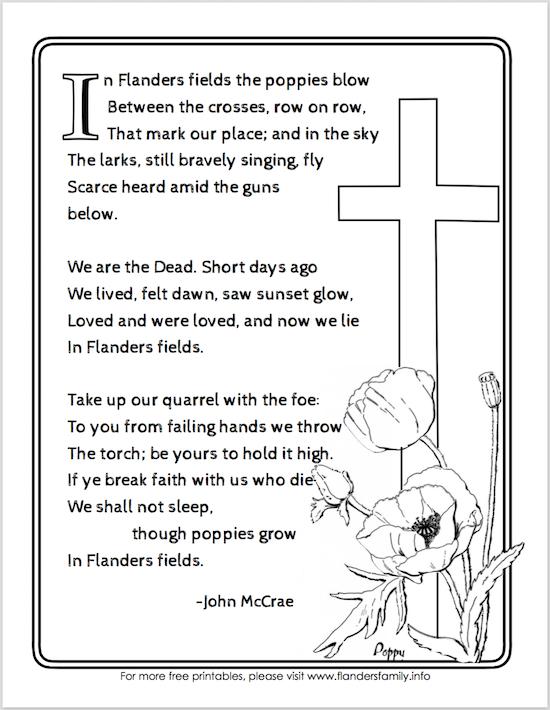 "Free printable ""In Flanders Fields"" Poem for Veteran's Day from www.flandersfamily.info"