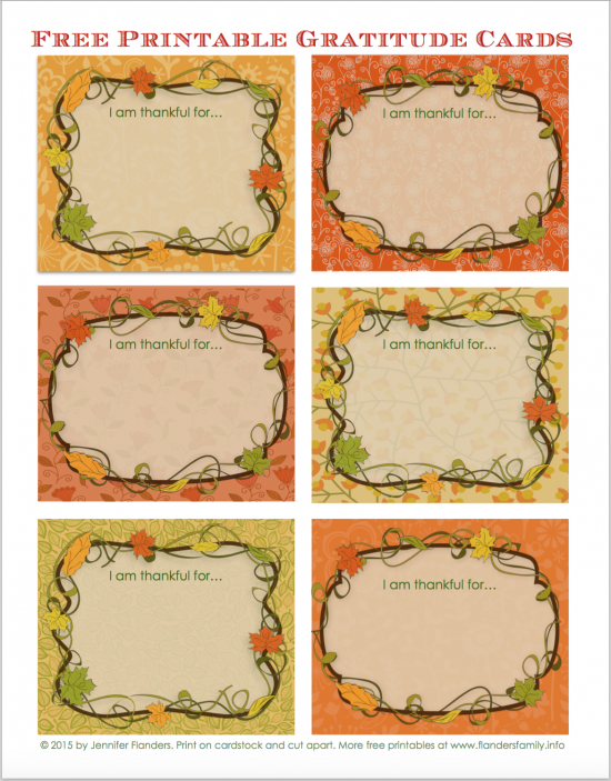 Free printable gratitude cards for Thanksgiving from www.flandersfamily.info