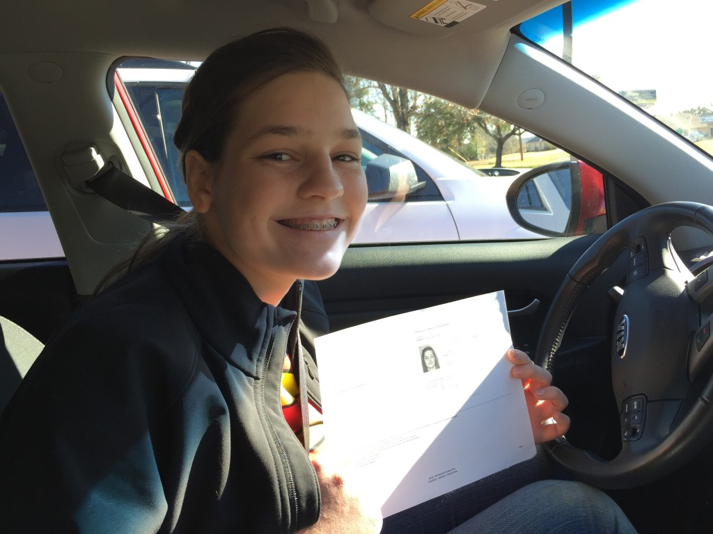 Rebekah with her Learner's Permit!!