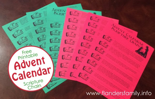 Advent Christmas Chain Free Printable Flanders Family