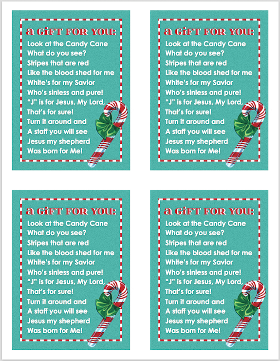 It's just an image of Divine Candy Cane Poem Printable