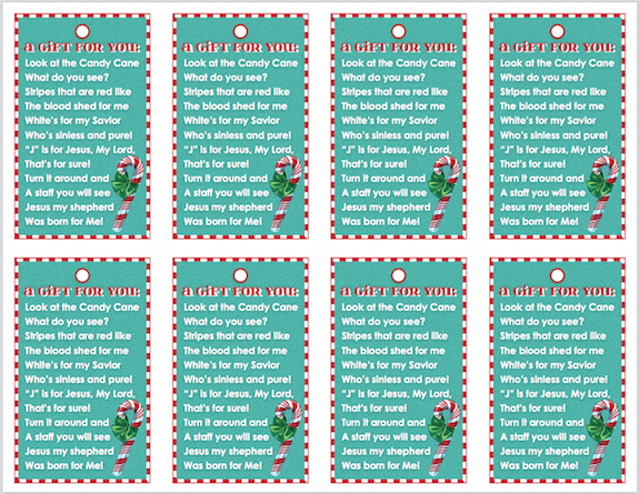 Printable Candy Cane Poems for Christmas Gift Giving
