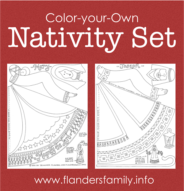 Free Printable: Beautiful paper-crafted Nativity Sets to craft or color | from www.flandersfamily.info