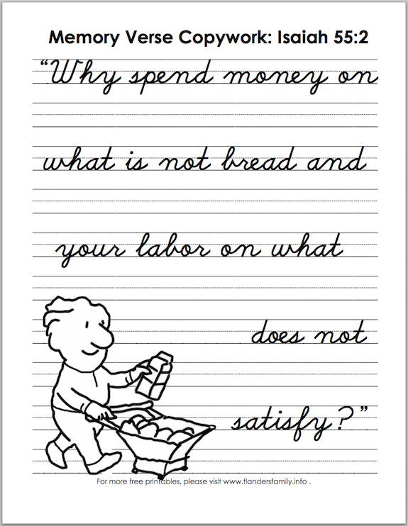 Free printable Bible memory flashcards and handwriting practice sheets from www.flandersfamily.info