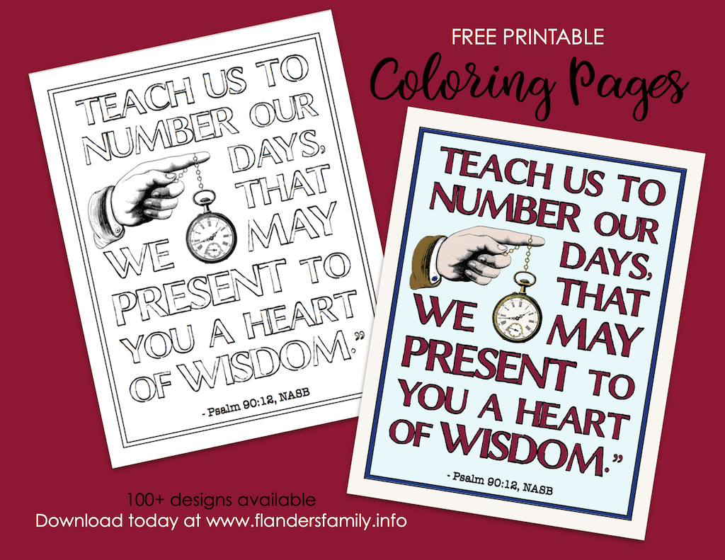 Teach Us to Number our Days Coloring Page