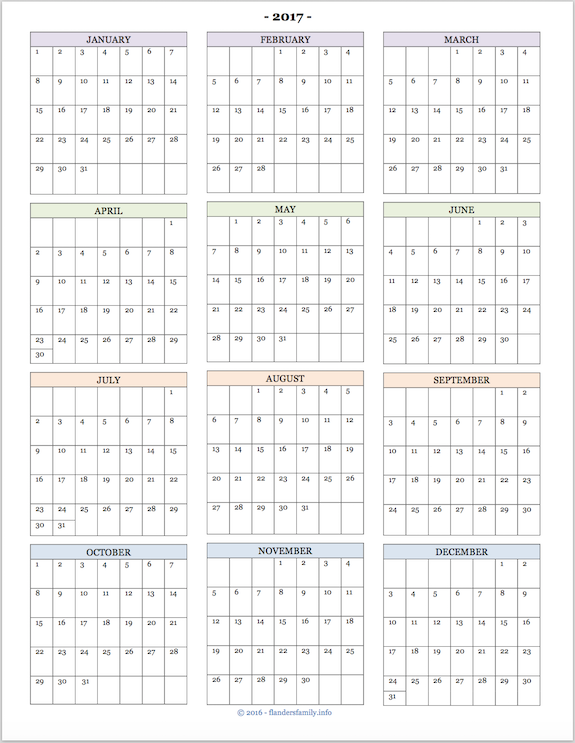 2017 Calendars for Advanced Planning