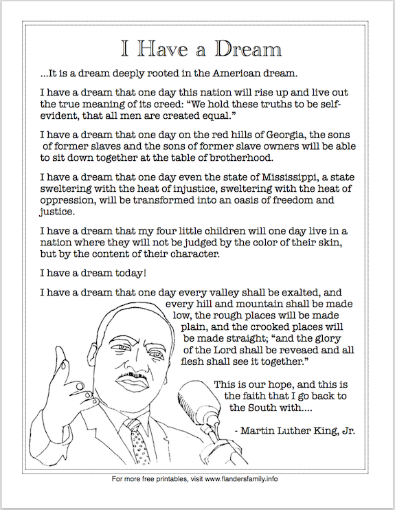 """Free printable: Martin Luther King, Jr.'s """"I Have a Dream"""" Speech (excerpt)"""