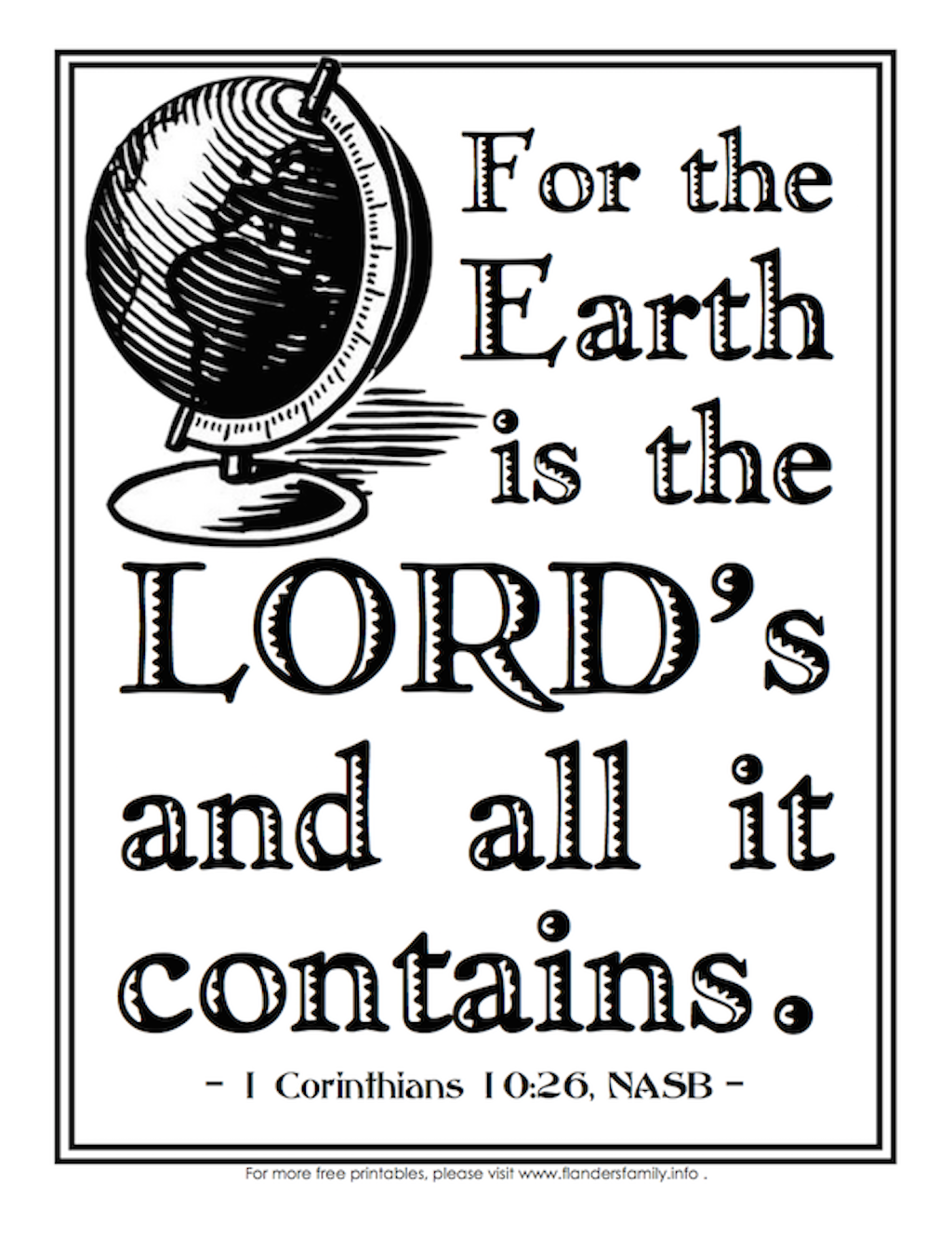 The Earth is the Lord's Coloring Page
