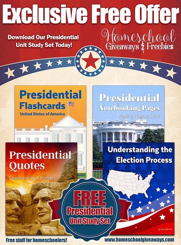 Free presidential printable pack from Homeschool Freebies
