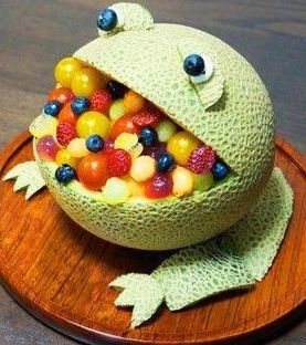 Treats for Frog Lovers - cantaloupe frog