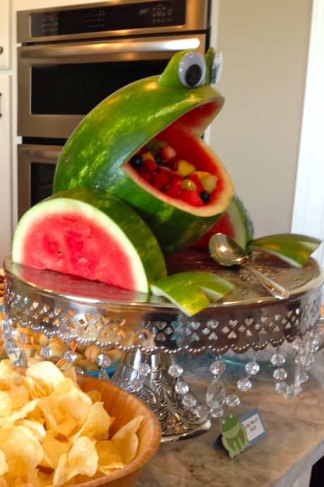 Watermelon frog sculpture - Treats for Frog Lovers