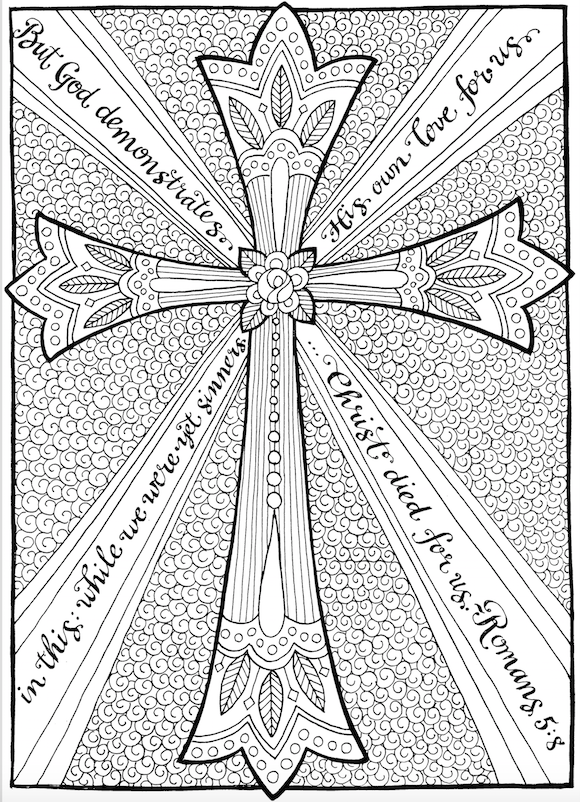 Free Coloring Page: The Cross of Christ - Flanders Family ...