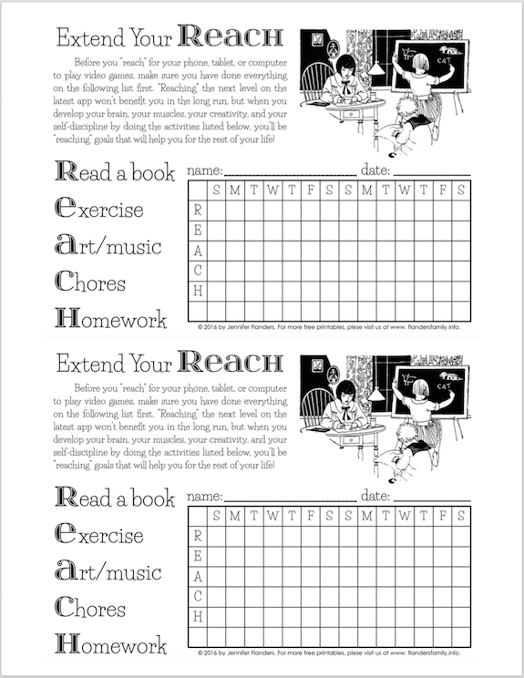 Free printable to teach kids responsibility and self-discipline