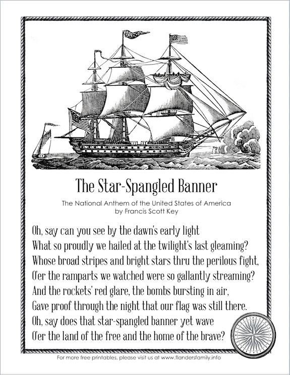 "Free printable copy of our National Anthem, ""The Star Spangled Banner"""