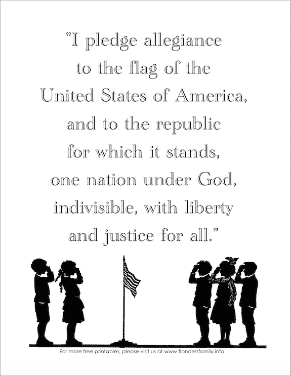 Free printable copy of the US Pledge of Allegiance.