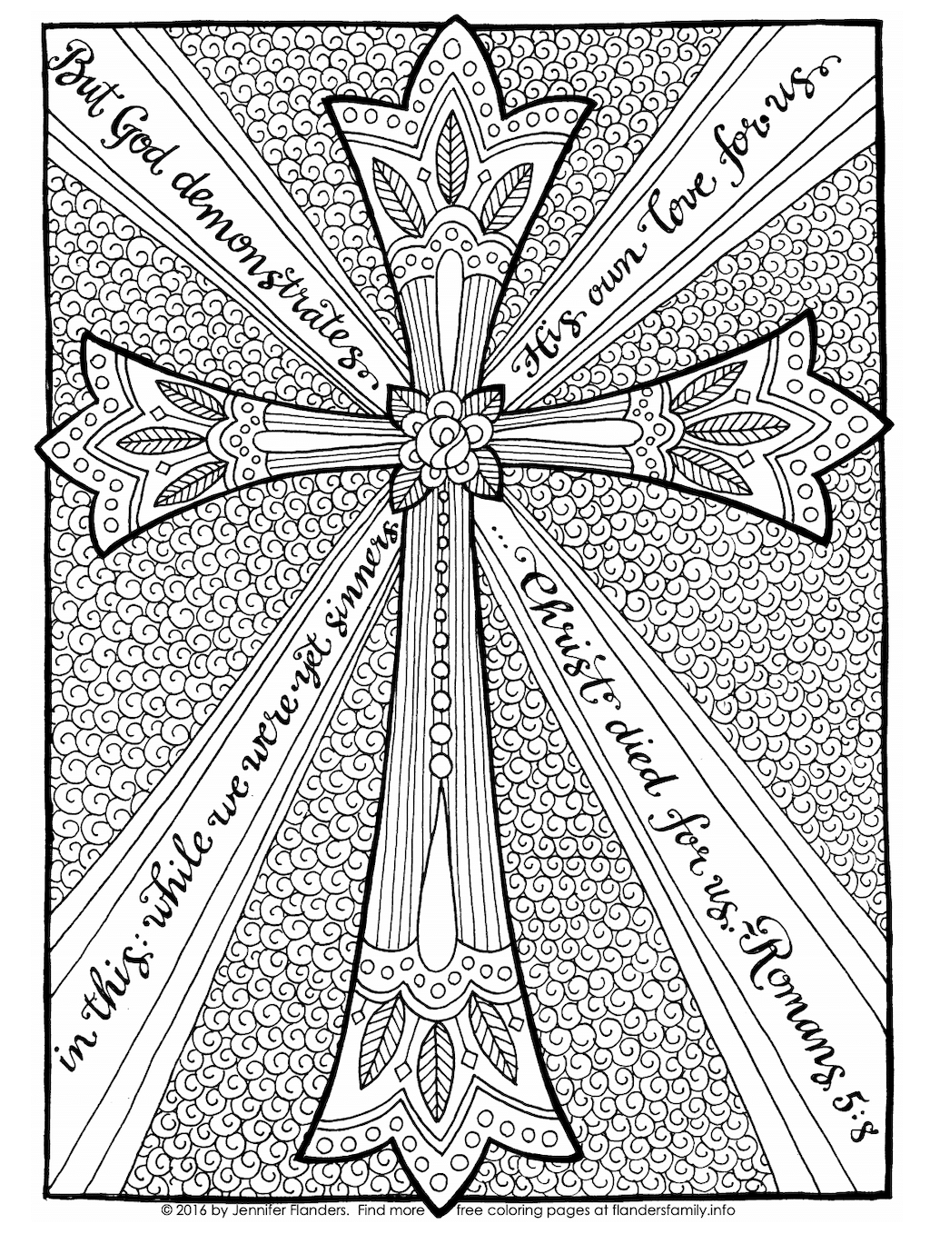 The Cross of Christ Coloring Page - Black and White