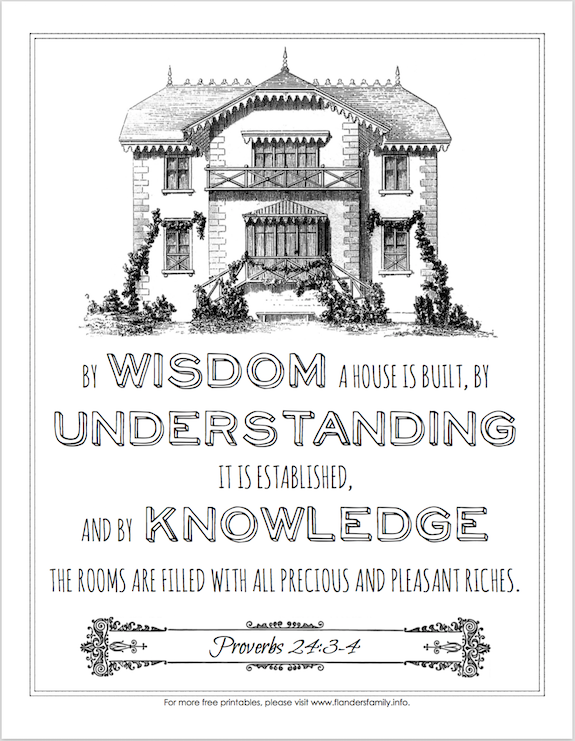 By Wisdom a House is Built (Coloring Page)