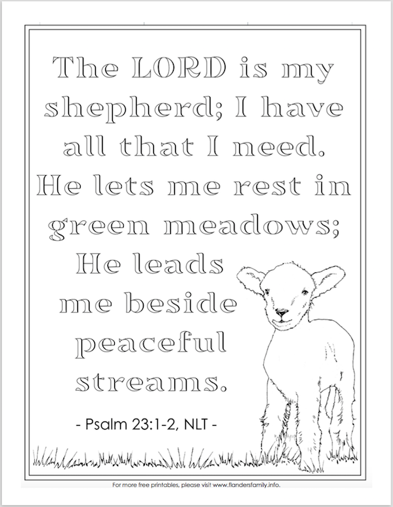 The Lord Is My Shepherd (Coloring Page) - Flanders Family Homelife