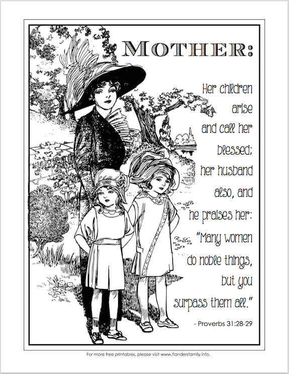 Happy Mother's Day (Free Coloring Page)