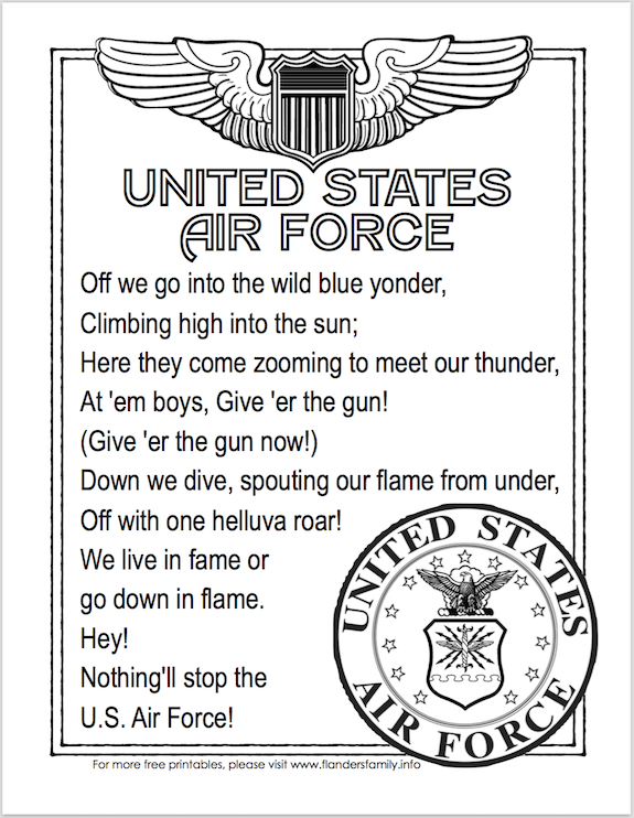 Free Printable US Military Anthems - Air Force