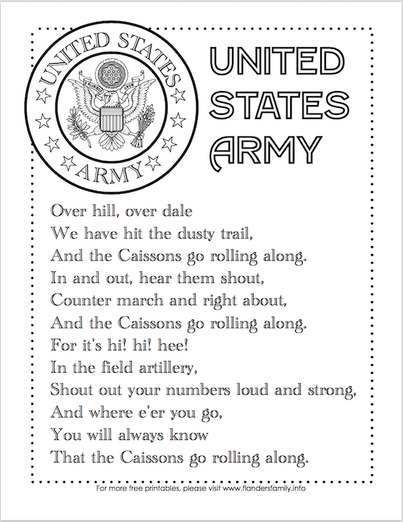 free printable copies of the US Military Anthems