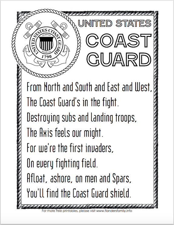 Free Printable US Military Anthems - Coast Guard