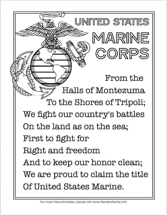 Free Printable US Military Anthems - Marine Corps