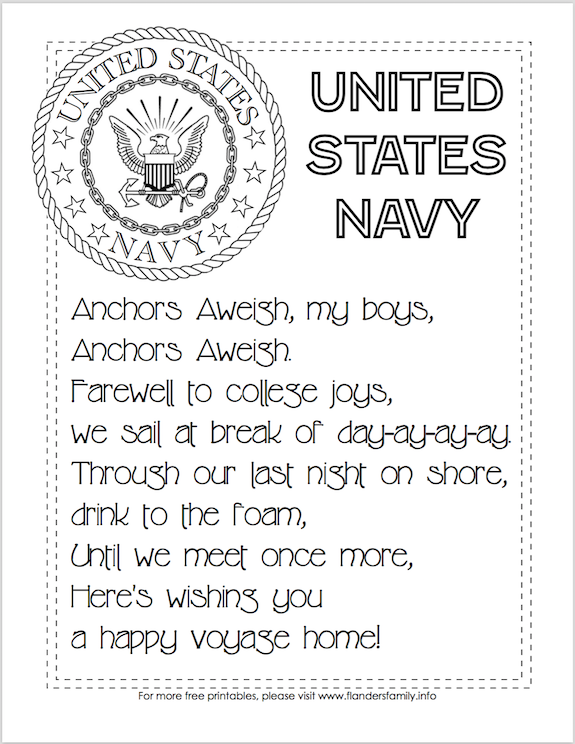 Free Printable US Military Anthems - Navy