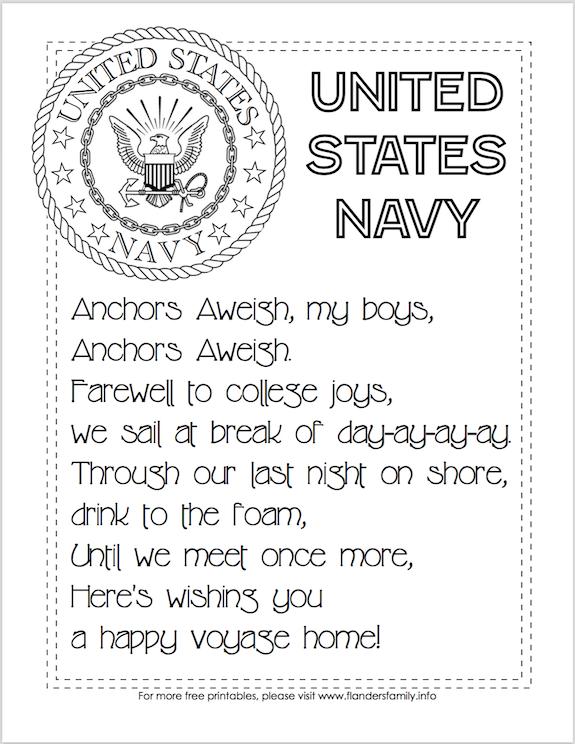 Free Printable US Military Anthems - Navy