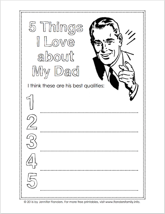 Free printables for kids to fill out for Father's Day ... from flandersfamily.info