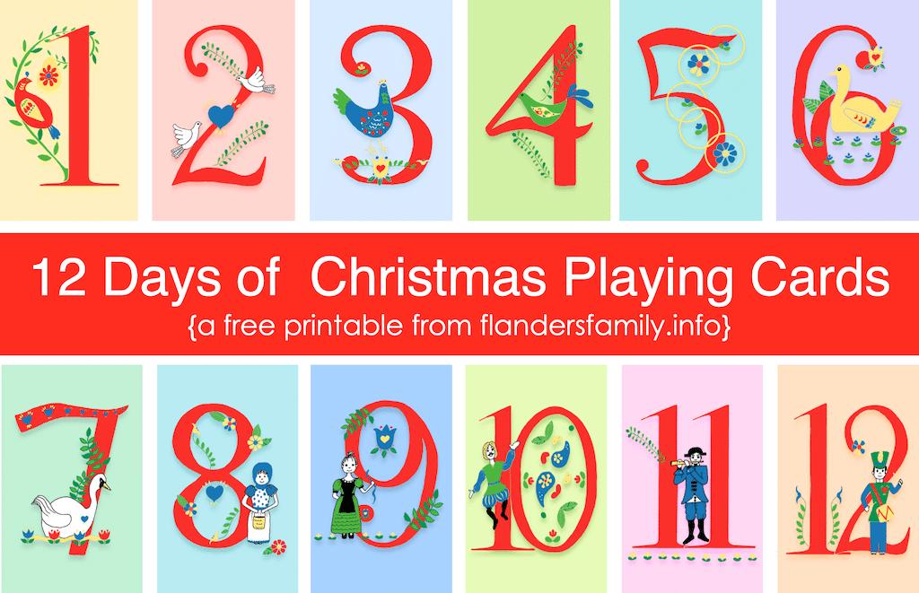 12 Days of Christmas Playing Cards - Free Printable