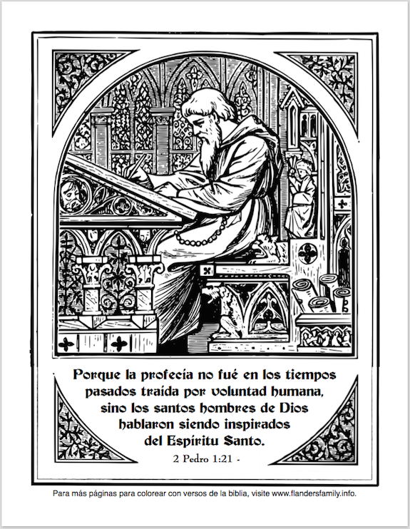 Free printable scripture-based coloring pages -- in Spanish!  from www.flandersfamily.info