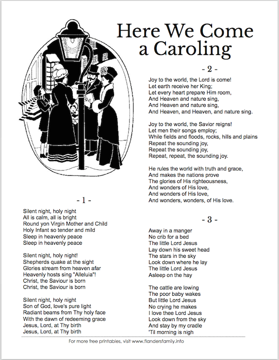 Christmas Carol Song Sheets (Free Printable)