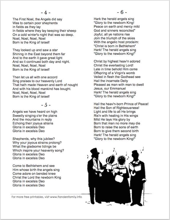 Free printable Christmas Carol Lyric Sheets