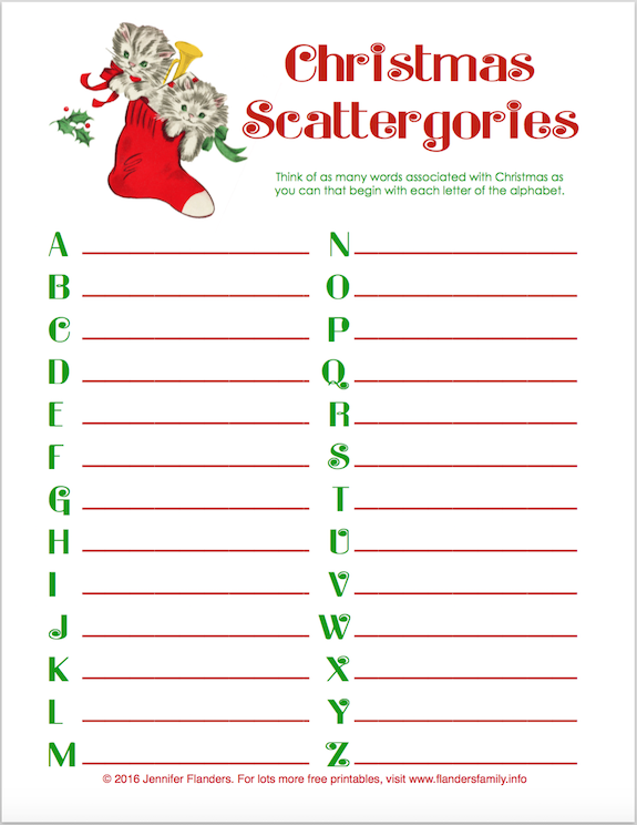 "Free ""Christmas Scattergories"" Printable"