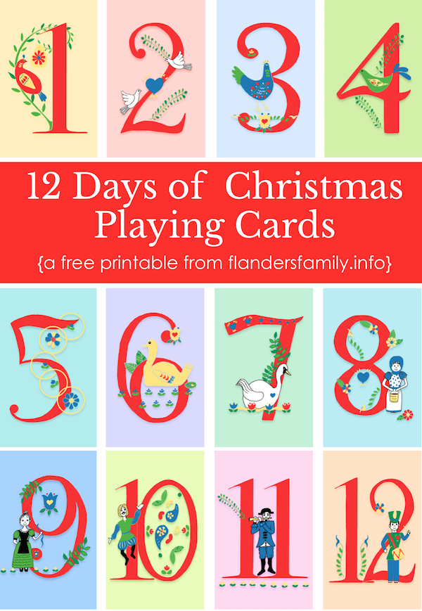 """12 Days of Christmas"" Free Printable Playing Cards"