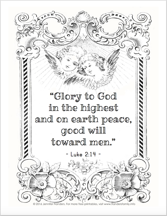 """Luke 2:14 """"Glory to God in the highest, and on earth peace, good will toward men."""" (free printable coloring page)"""