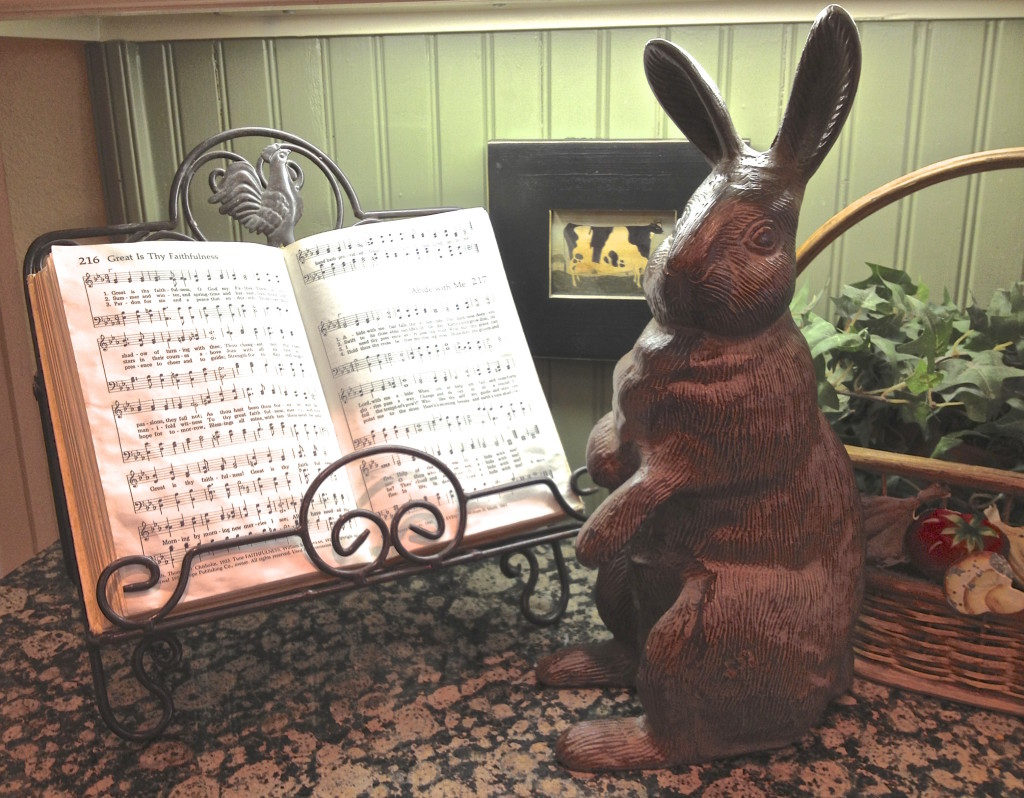 I keep a hymnal on my kitchen counter so I can sing while I work.