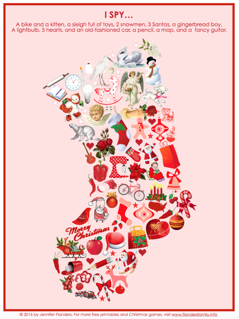 It's just a picture of Adaptable Christmas I Spy Printable
