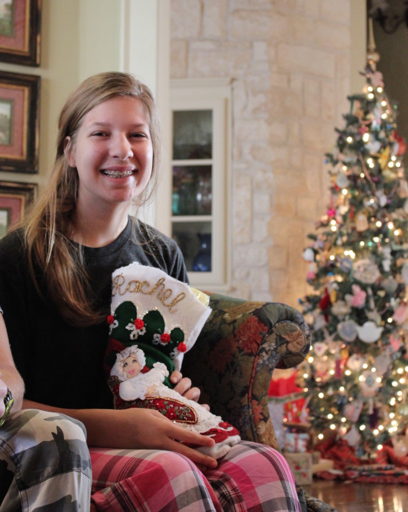 Unpacking our stockings on Christmas Morning 2015