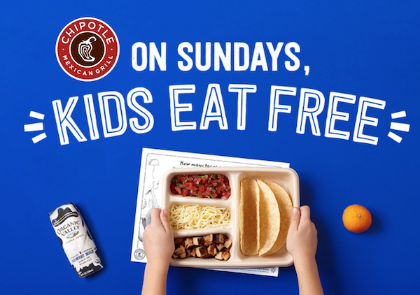 Kids eat free at Chipolte's on Sundays in September