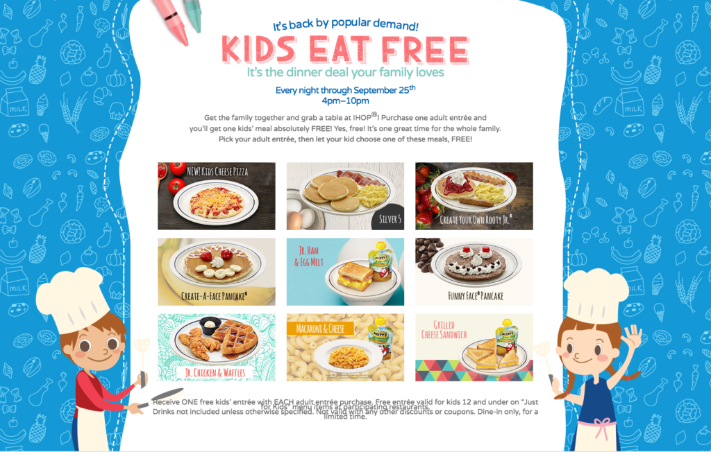 Free Kids Meals at IHOP through Sept 25