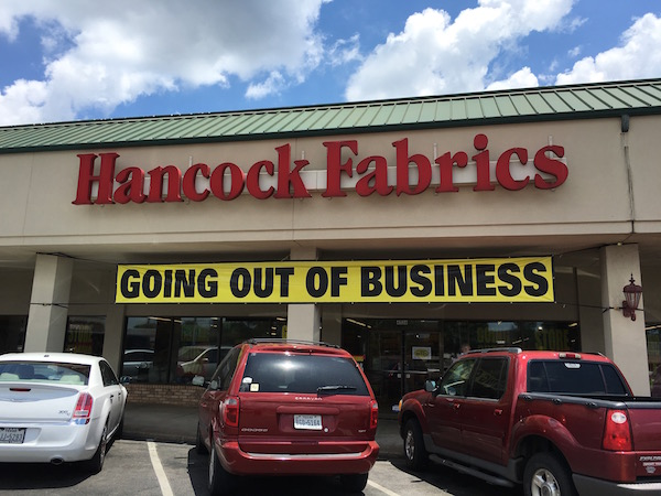 Hancock Fabrics going out of business